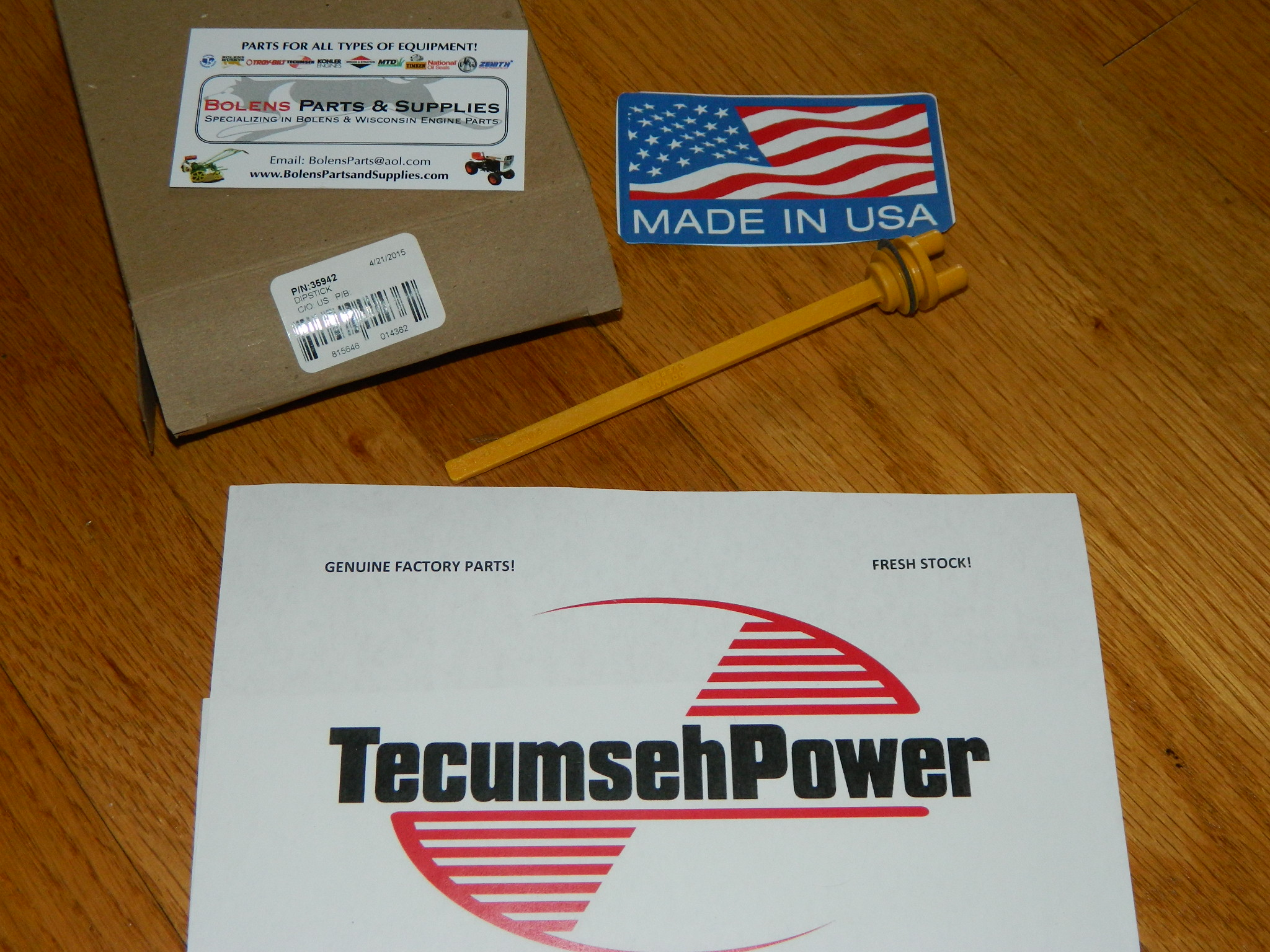 Tecumseh engine oil dipstick 35942 H60, HH60, HM100, HM80, LH, and SBH  series FREE SHIP!