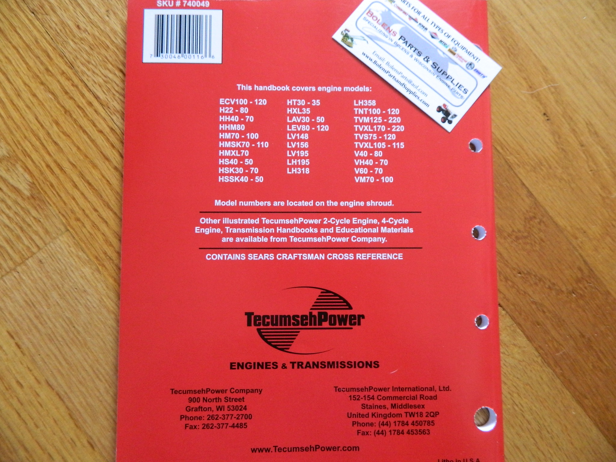 NEW Tecumseh engine 4cycle L head Repair service manual 3-11HP  mowers,tillers   692509 740049