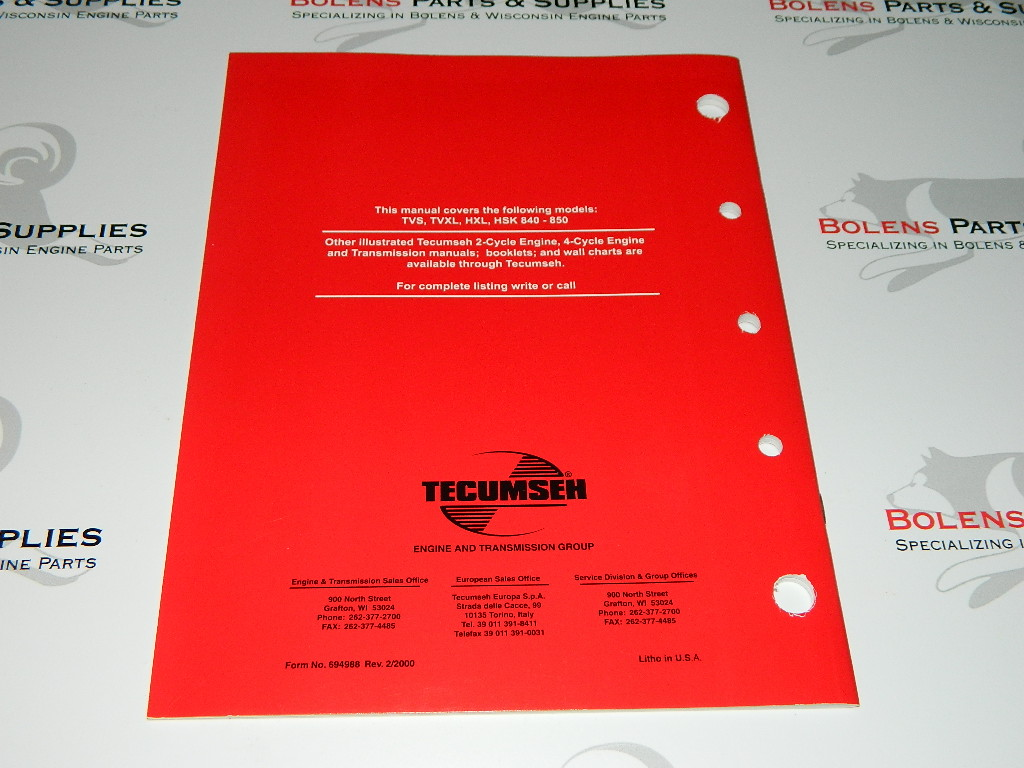 NEW Tecumseh engine 2cycle Engine Repair service manual HSK/HXL 840-850  TVXL840 694588