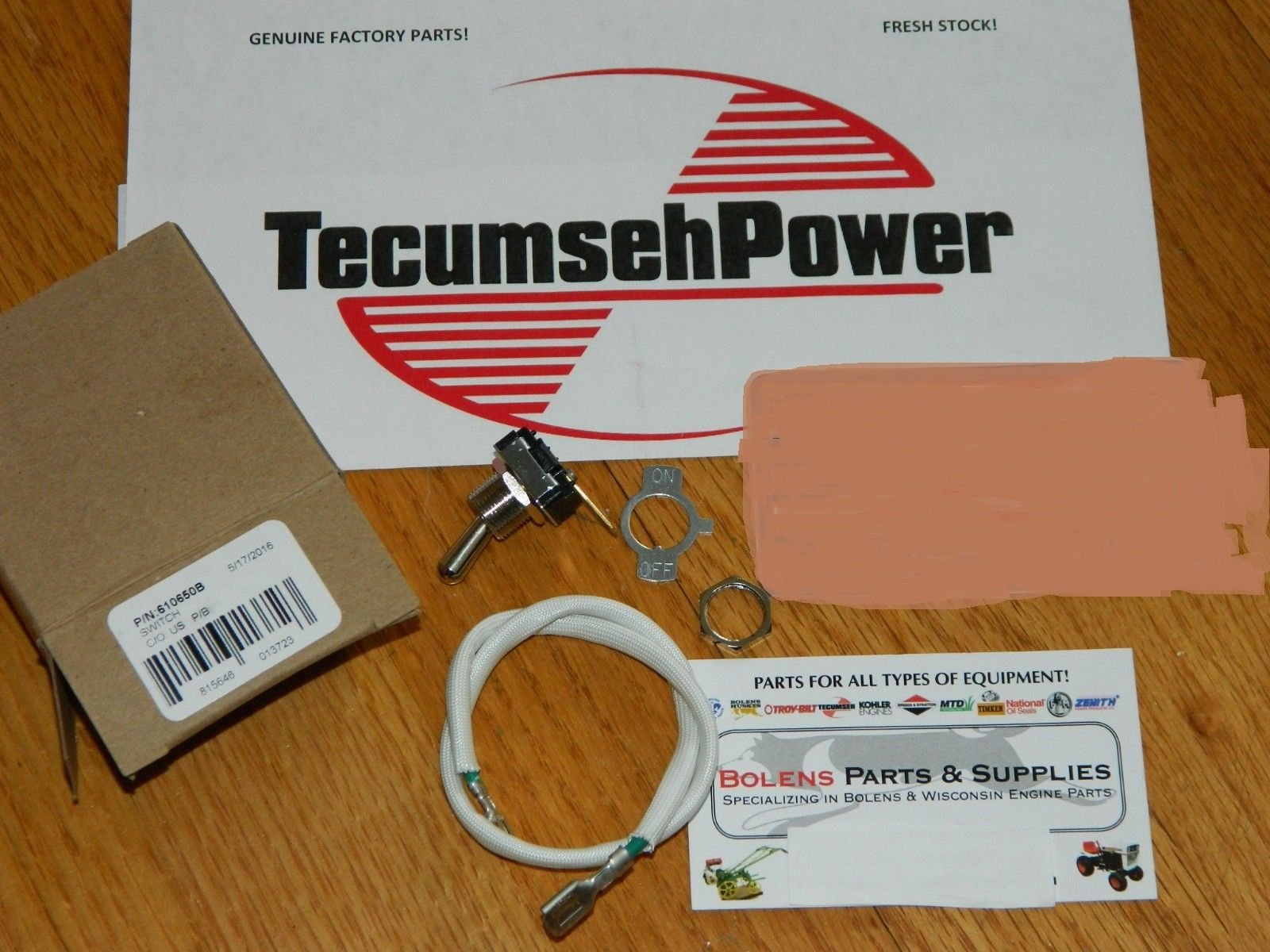 On/Off switch for Jiffy Ice Auger & Toro edger 2 cycle motor OEM TECUMSEH  610650B READ AD!